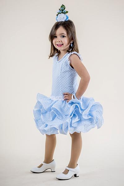 Vestido de flamenca para niña con falda corta en color azul de Rociera